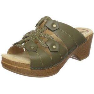 Dansko Serena Olive Leather Sandal Size 38